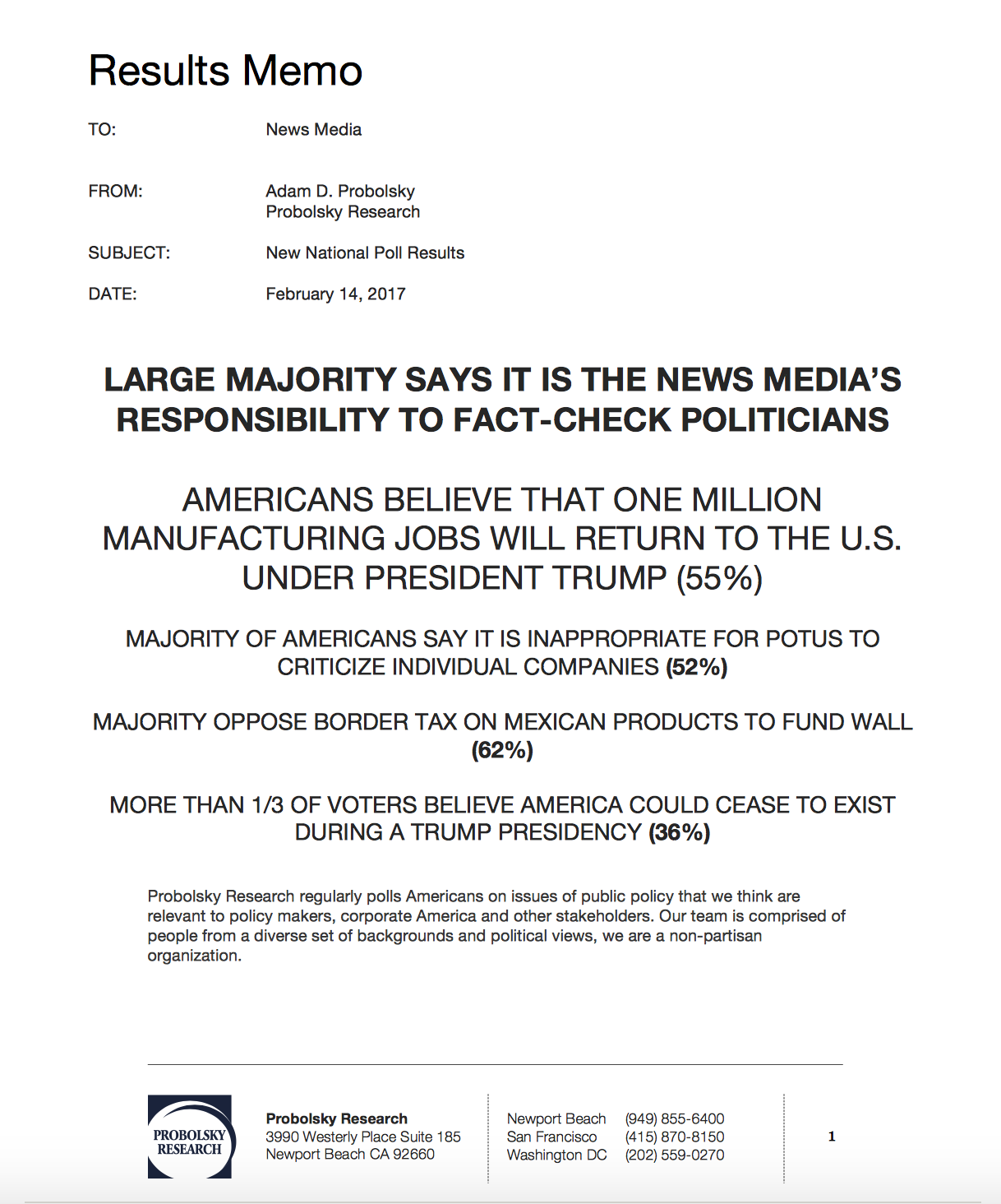 New National Poll – Results Memo – Probolsky Research